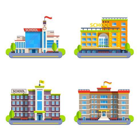 Edifici scolastici moderni e classici vettore