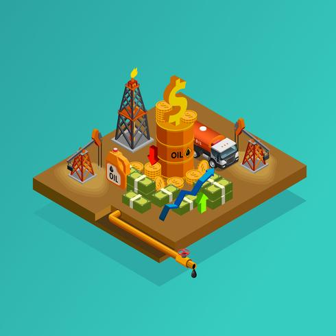 Oil Industry Production Profits Isometric Poster  vector