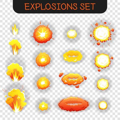 Conjunto transparente de explosión de dibujos animados vector