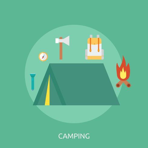 Ilustração conceitual de acampamento Design vetor