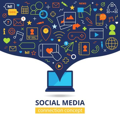Ilustración de redes sociales vector