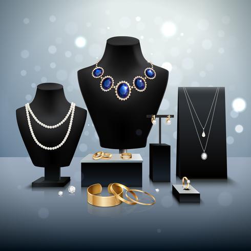 Esposizione di gioielli realistici