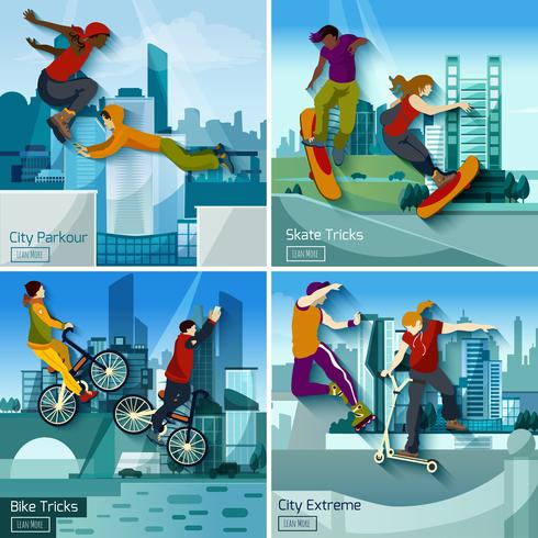 Extreme City Sports 2x2 Set di concept design vettore