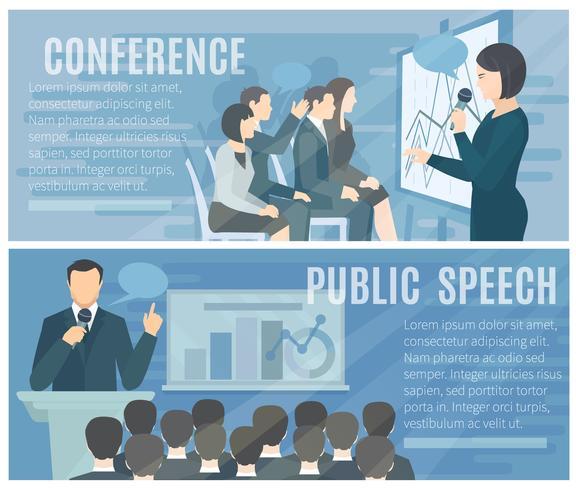 Conjunto de Banners horizontales planas de hablar en público vector