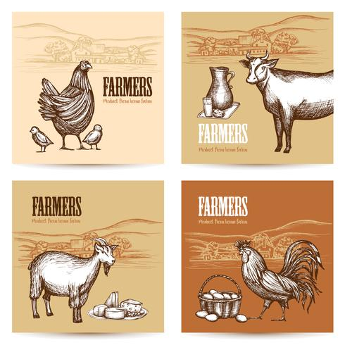 Farm Cards Set vector
