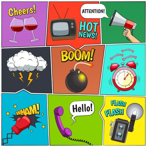 Comic Books Colorful Panels Design Set vector