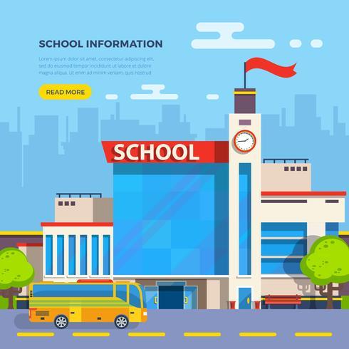 Ilustración plana de la escuela