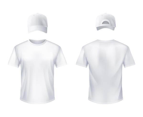 Camiseta blanca Gorra de béisbol Hombre Realista vector