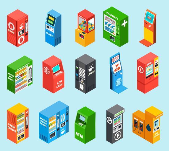 Colección de iconos isométricos de máquinas expendedoras de venta