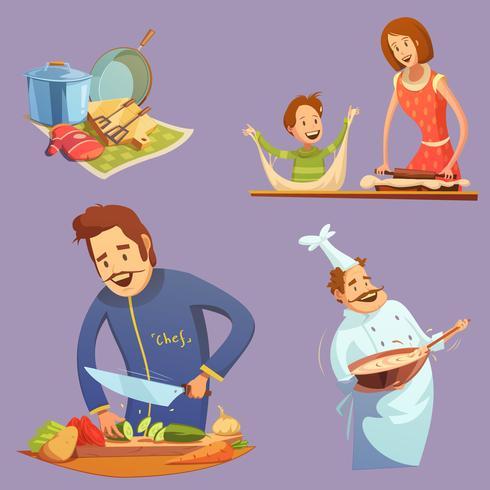 Cocina Retro Cartoon Icon Set