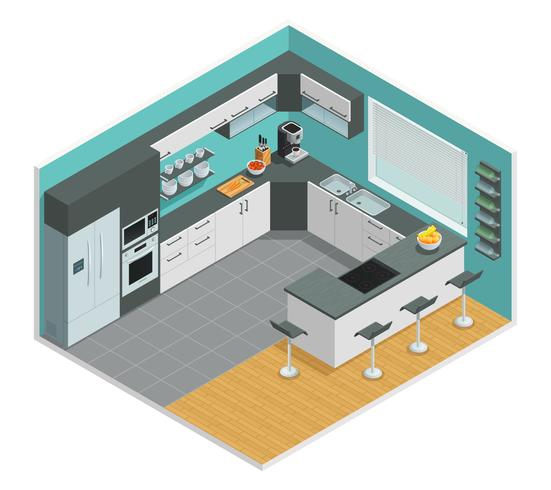 Design isométrico interior de cozinha vetor