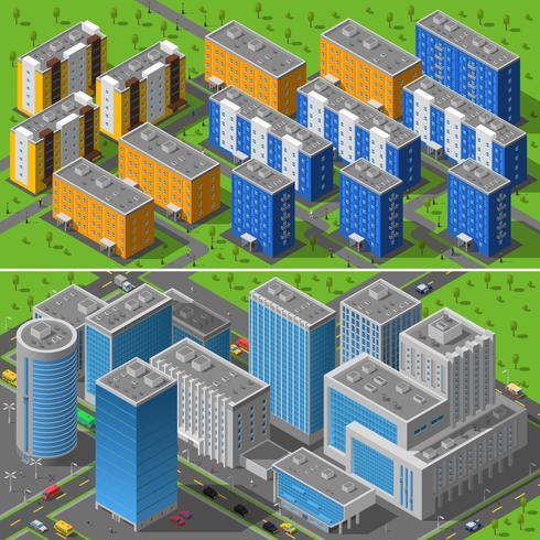 Bâtiments de la ville 2 bannières composition isométrique