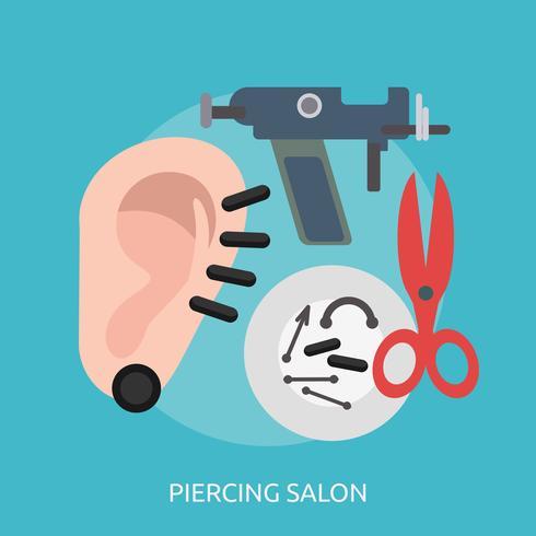 projeto de ilustração conceitual de salão de piercing vetor