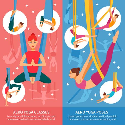 conjunto de banners de aero yoga