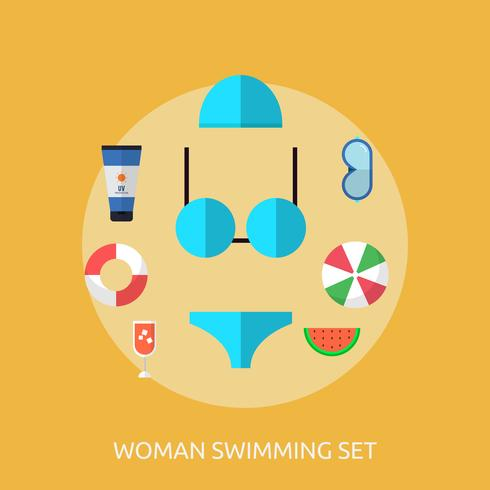 Woman Swimming Conceptual illustration Design