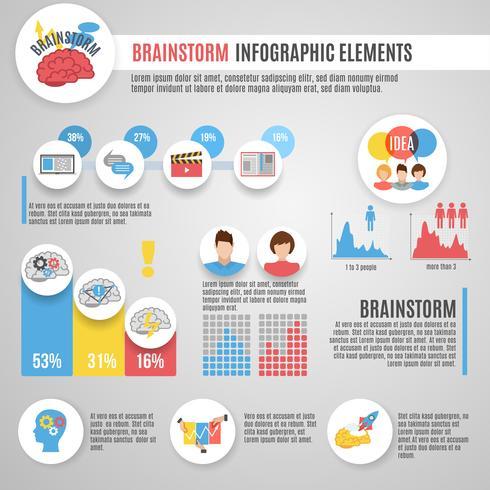 Conjunto de infográficos de brainstorm