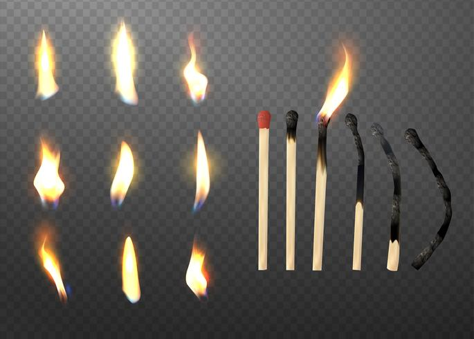 Realistische 3D-match stick en verschillende vlam icon set.