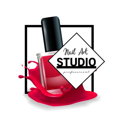 Nail Art studio logo design template. vector