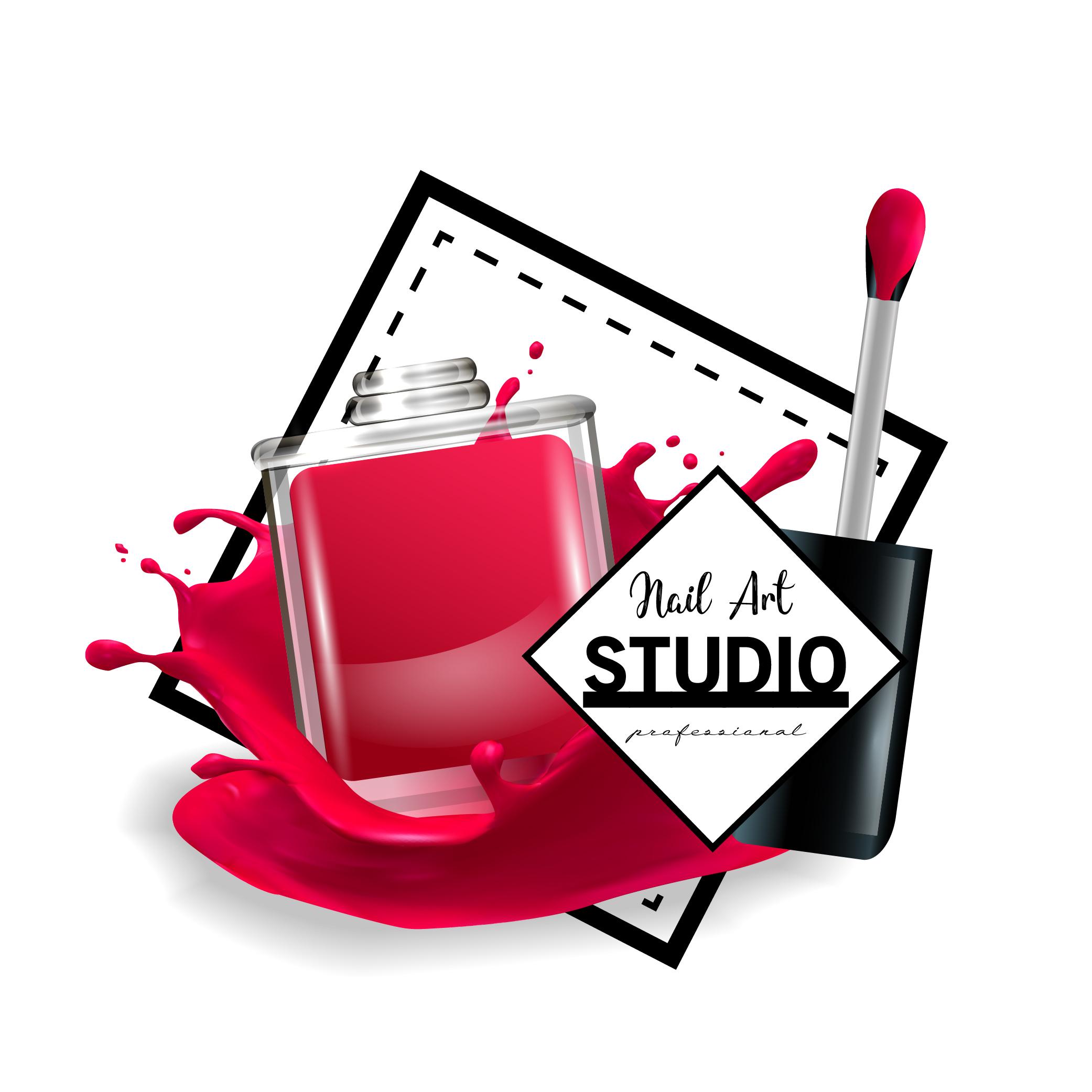 Nail Art Vector: Nail Art Studio Logo Design Template.