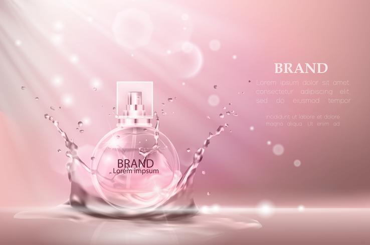 Illustration vectorielle d'un parfum de style réaliste dans une bouteille en verre. vecteur