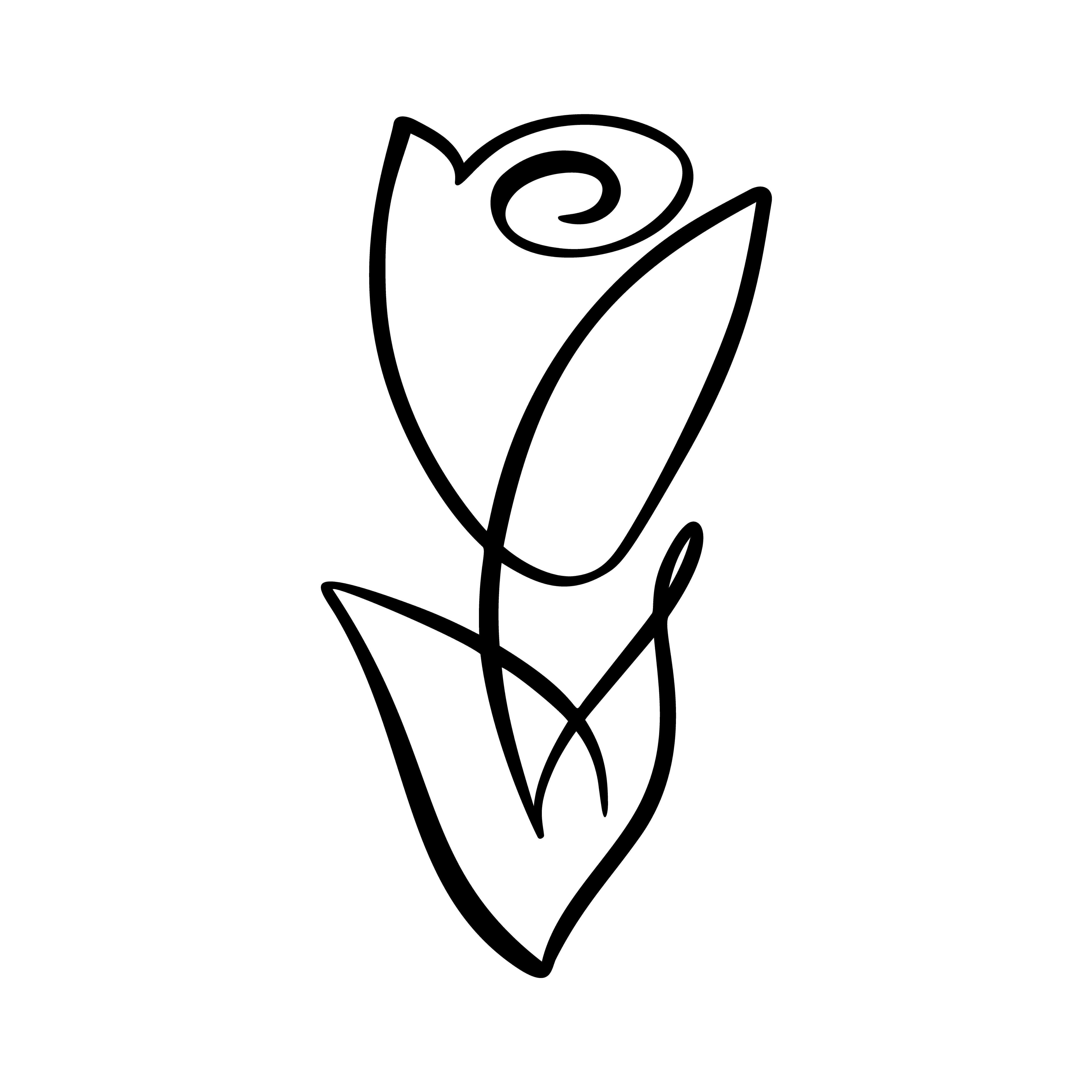 Rose flower concept. Continuous line hand drawing calligraphic vector logo. Scandinavian spring ...