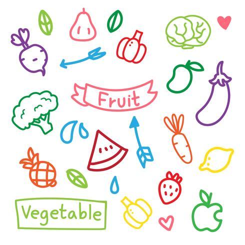 diseño vectorial de frutas y verduras vector