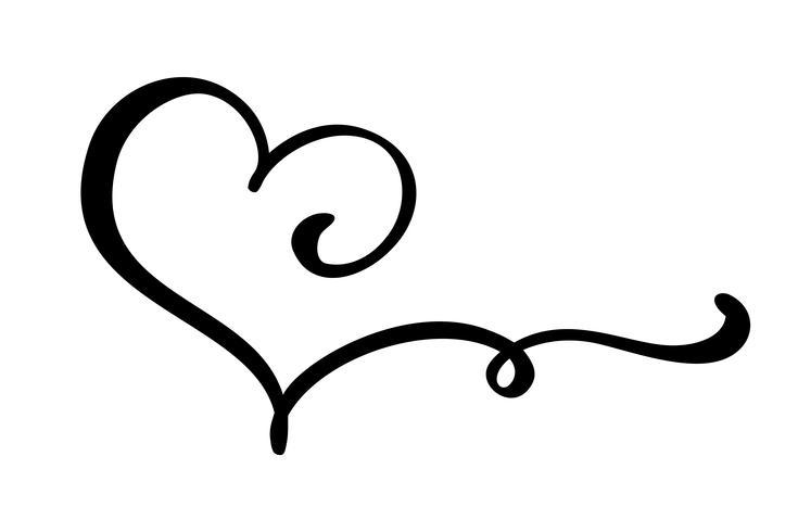 Hand gezeichnetes Herzliebeszeichen. Romantische Kalligraphievektorillustration. Concepn-Symbol Symbol für T-Shirt, Grußkarte, Poster Hochzeit. Flaches Element des Designs des Valentinstags vektor