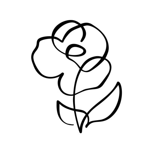 Rose Blumenkonzept. Ununterbrochene Linie Handzeichnung kalligraphisches Vektorlogo. Skandinavisches Frühlingsblumenmusterelement im minimalen Stil. Schwarz und weiß