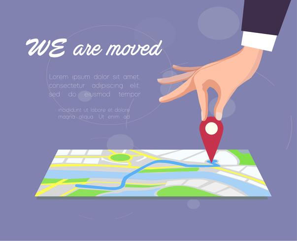 We are moved. Vector illustration.