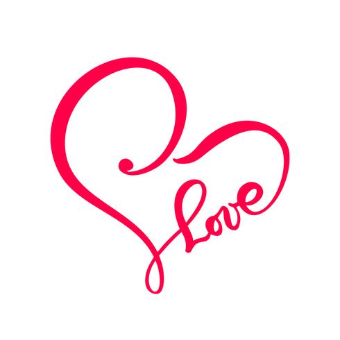 Dibujado a mano corazón amor signo de texto Ilustración de vector de caligrafía romántica. Símbolo del icono de Concepn para la camiseta, tarjeta de felicitación, boda del cartel. Elemento plano de diseño del día de san valentín.