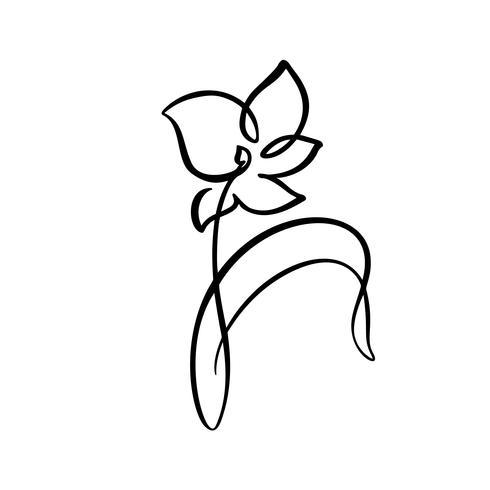 Ununterbrochene Linie Handzeichnung kalligraphische Vektorblumenkonzept-Logoschönheit. Skandinavisches Frühlingsblumenmusterelement im minimalen Stil. Schwarz und weiß