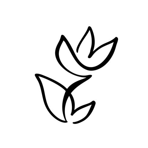 Tulip flower logo. Continuous line hand drawing calligraphic vector concept. Scandinavian spring floral design element in minimal style. black and white
