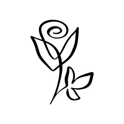 Conceito De Flor Rosa Mão De Linha Contínua Desenho De