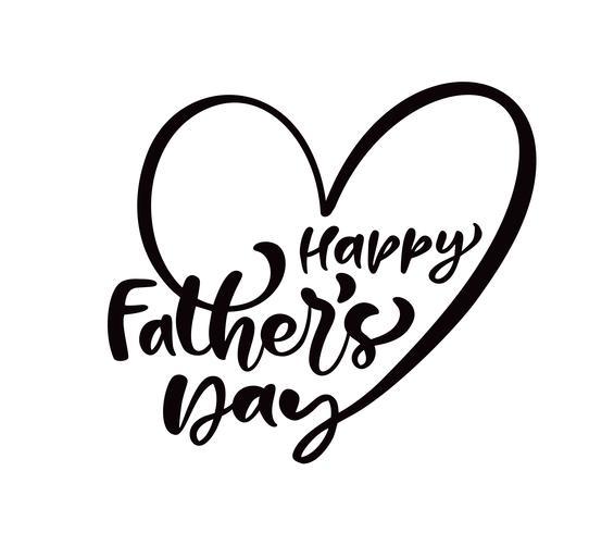 Feliz día del padre s letras negro vector de texto de caligrafía en la forma de un corazón. Frase manuscrita de letras modernas de la vendimia. La mejor ilustración de papá