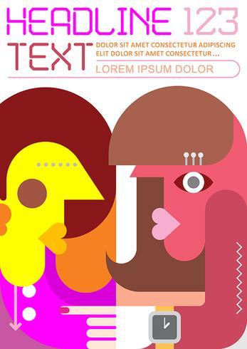 Two women face to face vector template design