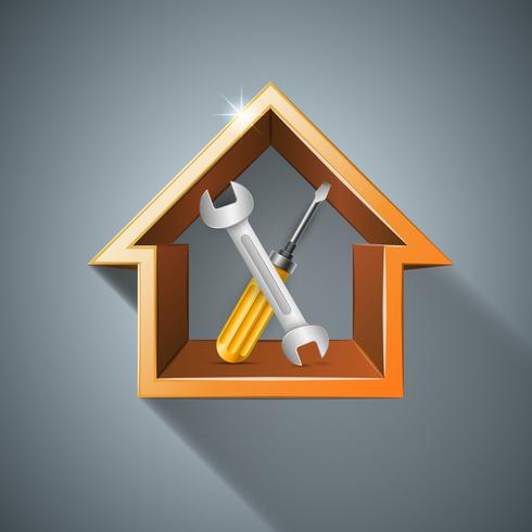 Wrench, screw, repair, house, home icon. Business infographic.