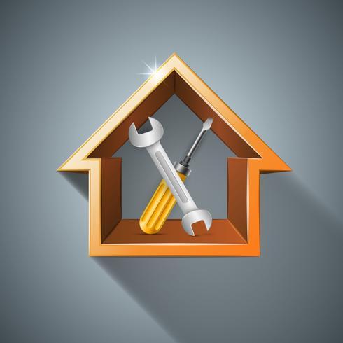 Moersleutel, schroef, reparatie, huis, pictogram introductiepagina. Zakelijke infographic.