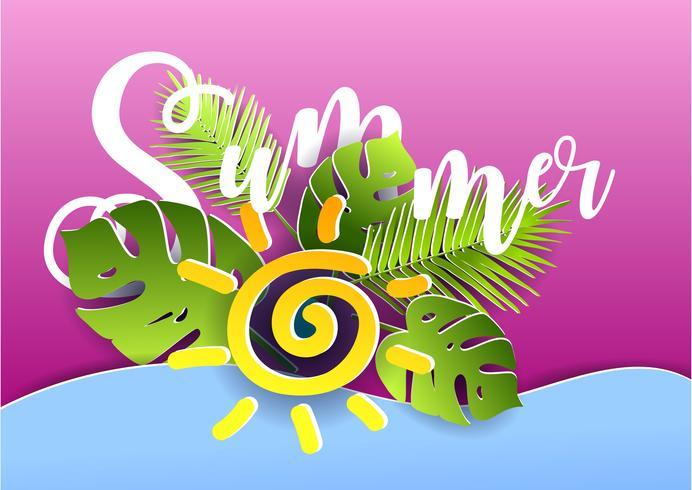 Vector cartel de verano. Estilo de corte de papel.