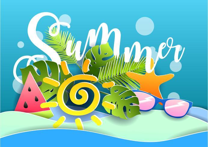 Vector zomer poster. Stijl voor papier snijden.