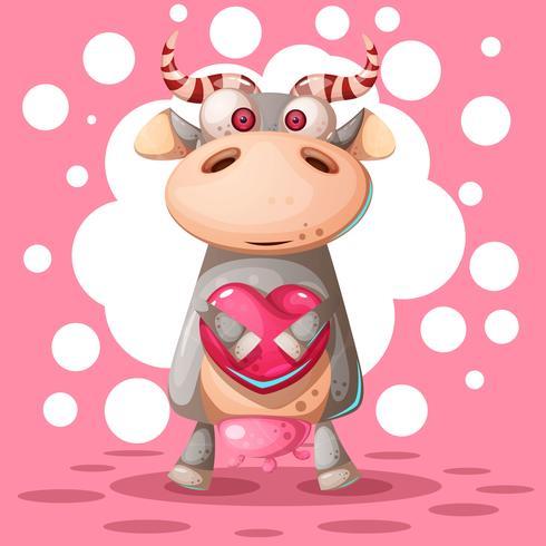 Leuke koe met hart luchtballon. Liefde illustratie.