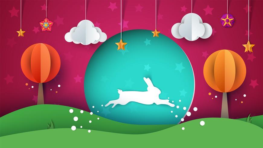 Ilustración de conejo. Paisaje de papel de dibujos animados. vector