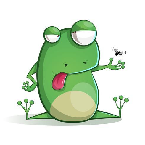 Dibujos animados de rana lindo y divertido