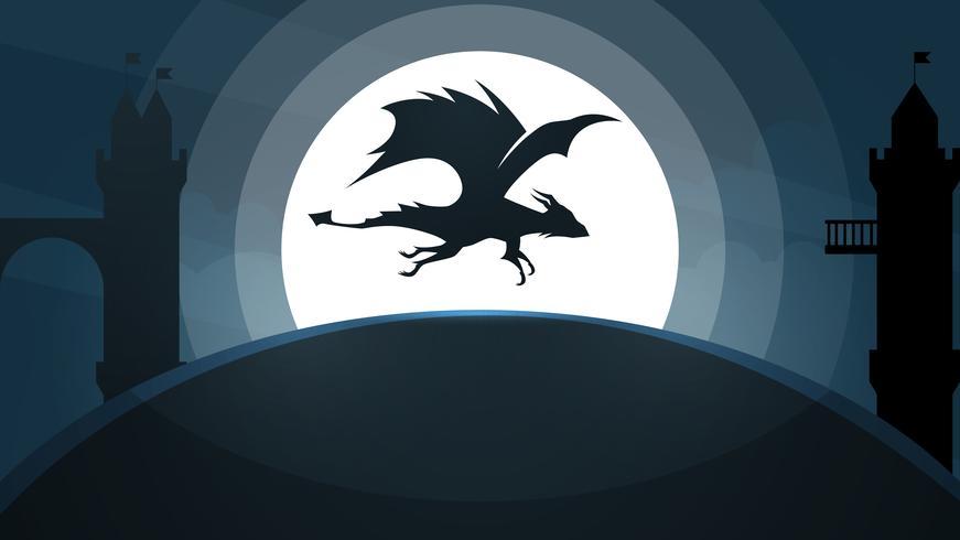 Dragón, ilustración castillo. Paisaje de papel de dibujos animados. vector