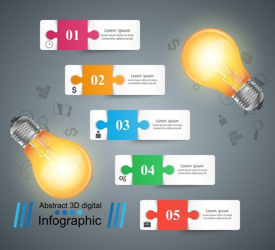 Bombilla, luz, eléctrica - infografía de negocios.