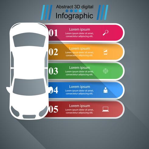 Weg infographic ontwerpsjabloon en marketing pictogrammen. Auto pictogram.