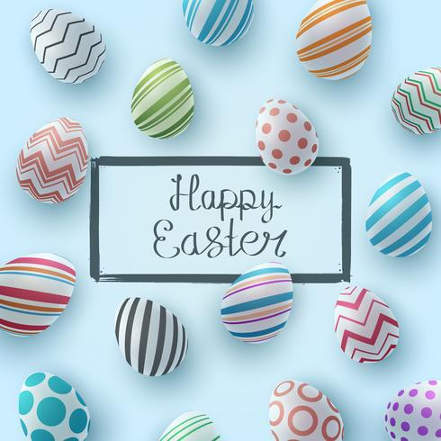 Felices Pascuas. Plantilla de huevo realista.