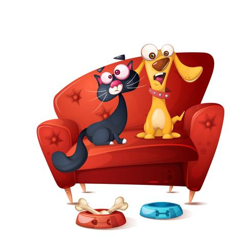 Cat and dog - cartoon illustration. vector