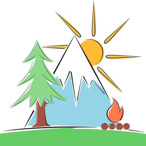 Cartoon paper landscape. Tree, mountain, fire illustration. vector