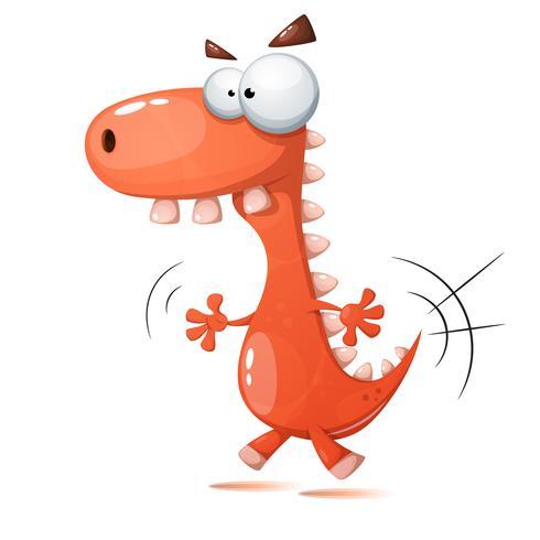Grappige, schattige, gekke dinosaurusillustratie. vector