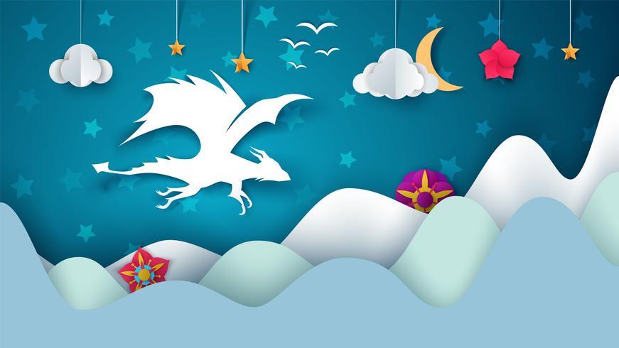 Ilustración del dragón Paisaje de papel de dibujos animados de fantasía.